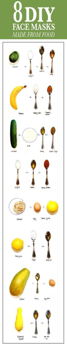 8 skin transforming face masks you can make out of food #diy #skincare http://www.ncnskincare.com/