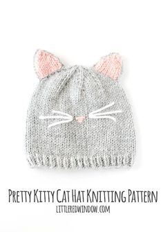 b212bac3392 Pretty Kitty Cat Hat Knitting Pattern for newborns