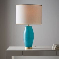 Roar + Rabbit Faceted Glass Table Lamp - Large (Aqua/Gold) | west elm