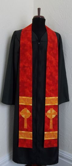 Red Clergy Stole with Celtic crosses