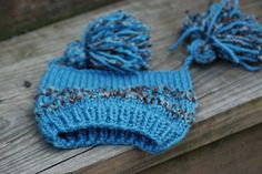 Baby Hat Blue and Brown Pom Pom and Stripes by deusprovidebit, $24.50