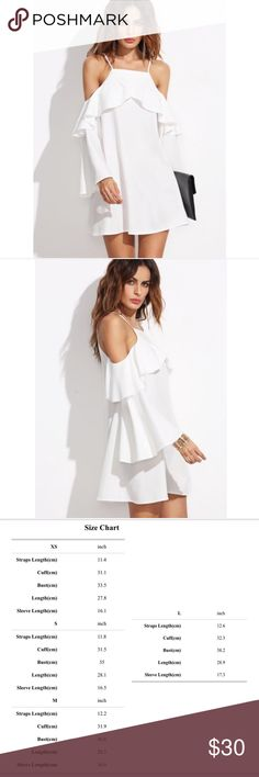 🆕 Pearl White Ruffle Bell Sleeve Dress 🆕 White Ruffle Bell Sleeve Dress. 100% polyester. Adjustable spaghetti shoulder straps. Price is firm unless bundled. For measurements please use size chart above. Dresses