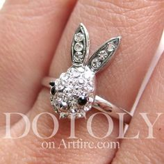 $10 Adjustable Rhinestone Bunny Ring!  NEW! By Dotoly on Artfire