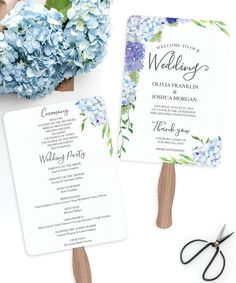 Wedding Programs Fan Template Printable Hydrangea Wedding