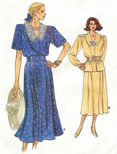 80s Vogue Sewing Pattern 9936 Womens Button Front by CloesCloset