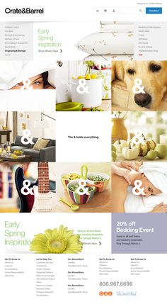Crate and Barrel website design concept.