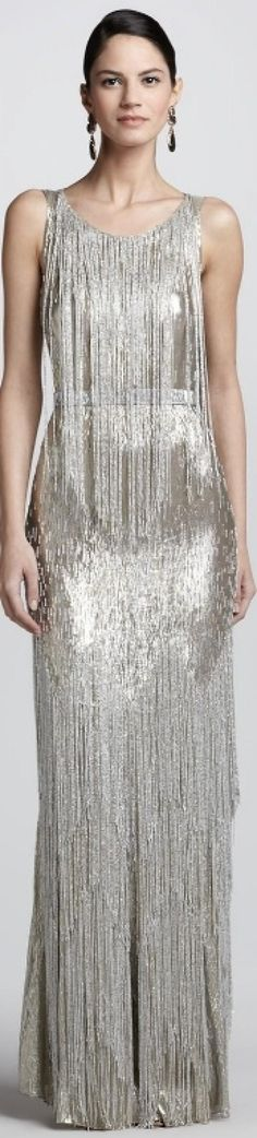 HAUTE?DRESS: Oscar de la Renta Silver Bead-Fringe Sleeveless Column Gown