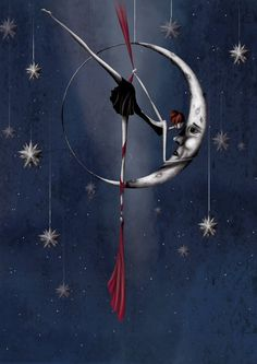"""This is an illustration extract from the calendar 2012. """"La lune"""" or """"the moon"""" You can find it on my website: http://sibylledodinot.com Or here: http://www.etsy.com/shop/sibylledodinot"""