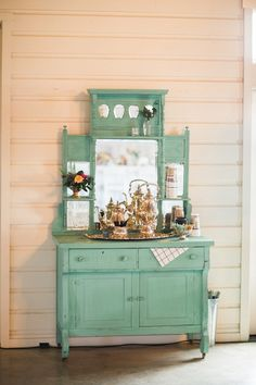 Distressed vintage vanity as tea station. Keestone Events.  - photo by http://allentsaiphotography.com/