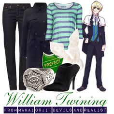 [Makai Ouji] William Twining by animangacouture on Polyvore featuring Splendid, Levi's, Alexander Wang, Alexander McQueen, anime, CasualCosplay and makaiouji