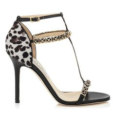 Jimmy Choo Flint black nappa leather and leopard print pony sandal.