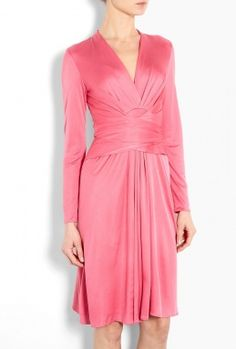 More beautiful draping.  Lovely color too.    Watermelon Silk Jersey Wrap Dress by Issa