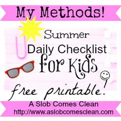 A Summer Version of My Kids' Daily Checklist