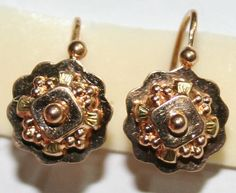 ANTIQUE VICTORIAN FRENCH 18K ROSE GOLD BEAUTIFUL FLOWER HAND MADE EARRINGS 1880