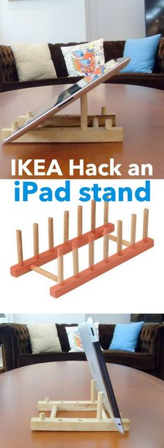 Turn a cheap wooden plate holder to an iPad stand http://www.ikeahackers.net/2017/06/ostbit-ipad-stand-wood.html