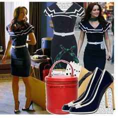 Blair Waldorf in navy dress. Matched with a red lip makeup this look would be excellent for a girl with black hair, blue eyes and fair skin.