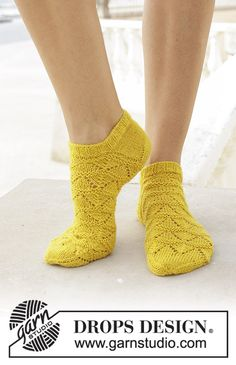 Ravelry: Sun Dance pattern by DROPS design Crochet Socks, Knitted Slippers, Crochet Baby Booties, Knitting Socks, Knit Crochet, Knitting Blogs, Knitting Patterns Free, Free Knitting, Drops Design