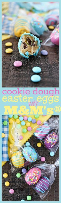 Cookie Dough Easter Eggs with M&M's®️️️️ - Chewy edible chocolate chip cookie dough truffles with M&M'S®️️️️ Milk Chocolate, rolled into egg shapes, and dipped into fun colored candy melts to make them look like Easter eggs. The perfect treats to make for Easter! #SweeterEaster #ad /walmart/