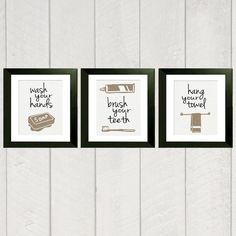 Set of 3 bathroom prints that would work great as reminders in a childs bathroom.    A colorful version of these prints can be found here:  http://www.etsy.com/listing/89715719/bathroom-art-print-set-of-3-color-8x10    You can purchase separate prints by visiting the links below:    Wash Your Hands Print: http://www.etsy.com/listing/89006698/wash-your-hands-print-8x10-bathroom    Brush Your Teeth Print: http://www.etsy.com/listing/88993577/brush-your-teeth-print-8x10-bathroom    Hang Your…