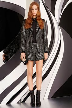 Emilio Pucci | Pre-Fall 2015 | 40 Black/silver embellished blazer and shorts with black long sleeve shirt