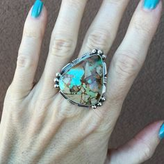 Royston Turquoise With Beads & Cut Out Design Ring | Unique & Stylish Sterling Silver Exotic Stone Jewelry