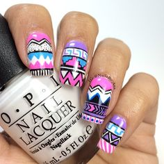 Cool Tribal Nail Art Designs, Tribal nails are created with curving and angular lines. This type of nail art incorporates bold patterns, colors and shapes. Tribal nail art worked t. Nail Art Designs, Pretty Nail Designs, Acrylic Nail Designs, Acrylic Nails, Winter Nail Art, Winter Nails, Gorgeous Nails, Pretty Nails, Tribal Nails