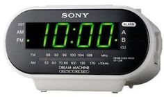 Sony Compact AM/FM Dual Alarm Clock Radio with Large LED Display, Independent Dual Alarm Times, Extendable Snooze, & Built-in Battery Back-Up - White by Sony. $27.19. Dual Alarms Set two separate wake-up times (His & Hers) with individual wake-up settings.Alarm  will wake you with the sounds of your favorite Radio station or the original BUZZER.Extendable Snooze Easily choose your own snooze time. Each press of the snooze button adds an additional 10 minutes to yo...
