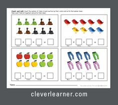 Adding in grups of three: count and add the objects to find tha sum Addition Worksheets, Worksheets For Kids, Printable Worksheets, Printable Coloring, Printables, Number Activities, Preschool Themes, Kids Learning Activities