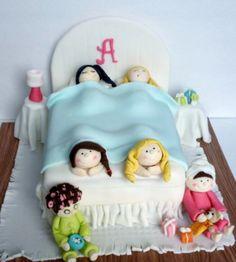 Slumber party sleep over little girls cake  https://www.facebook.com/SweetJeaniesCakeCo