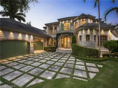 Waterfront castle with stone work in the Moorings   Naples, Florida