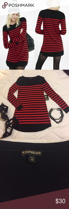 """NWT Express Striped Sweater Dress Short and sexy with a touch of punk. Never been worn, still has """"return tag"""" attached. Perfect condition. No trades! Express Dresses Mini"""