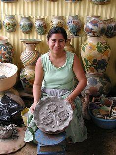 Mujeres Artesanas de las Regiones de Oaxaca, A.C. MARO 5 de Mayo No.204 Centro Oaxaca Pottery, hand-embroidery textiles, Mexican tin art, jewelry.