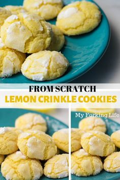 Lemon Crinkle cookies from scratch are easy to make and delicious. Make cookies from scratch with this easy recipe. These lemon crinkle cookies from scratch are perfect for beautiful sunny days. Bake them quickly and serve them at your next party. Dessert From Scratch, Cookie Recipes From Scratch, Easy Cookie Recipes, Dessert Recipes, Lemon Cake From Scratch, Lemon Crinkle Cookies, Lemon Sugar Cookies, Sugar Cookies Recipe, Desserts