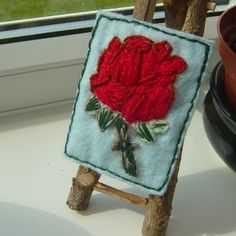 One Day Sale!  Red Rose Bud Embroidered Yarn and Felt ACEO. £2.50