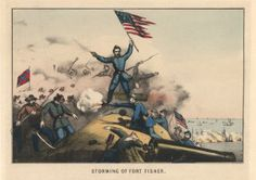 """""""Storming of Fort Fisher"""" (1861 to 1865)  Fort Fisher defended the mouth of the Cape Fear River for most of the war. By 1865, it was the only remaining supply line for Gen. Robert E. Lee's troops in Virginia. The Fort was taken by Union troops in 1865, just months before the war ended, and its fall played a part in the Confederate defeat."""
