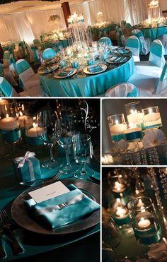 Tiffany-themed wedding reception ideas.