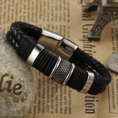Genuine leather bracelet men stainless steel leather braid Bracelet with magnetic buckle claps
