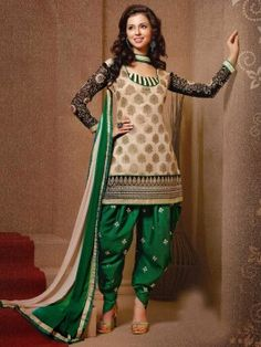Light Cream And Black Banarasi Jacquard Suit With Resham And Zari Embroidery Work www.saree.com