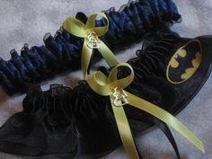 Handmade wedding garters keepsake and toss BATMAN wedding garter set bridal garters. $28.00, via Etsy.