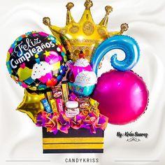 Happy birthday detalles  para sorprender. #candykriss Balloon Box, Balloon Gift, Balloon Bouquet, Animal Party, Gift Baskets, Desi, Diy And Crafts, Balloons, Candy