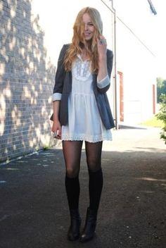 grey blazer with shift dress outfit idea