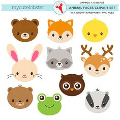 Woodland animal faces clipart set cute animals rabbit etsy felt animals, an Felt Animals, Baby Animals, Cute Animals, Clipart, Felt Crafts, Diy And Crafts, Cute Animal Videos, Animal Faces, Baby Kind