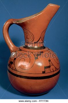 MEXICO: AZTEC JAR. /nOcher jar with painted black designs. Aztec, 1324-1521. - Stock Image