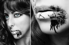halloween lippen schminken schwarze abbildung gruselig