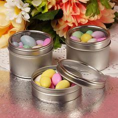 Silver Windowed Round Tin Cans