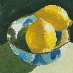 Lemon Painting Original small oil still life fruit on Canvas panel. $135.00, via Etsy.