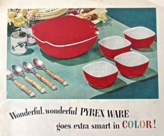 This is a vintage print ad for PYREX Kitchenware from 1954.    The colours are vibrant and the design is classic retro. Would look stunning in a frame and is also great for altered art or collage work.    This is an original advertisement and not a digital copy. The ad does have a slight fold in the upper right-hand corner. However, the ad is in great vintage condition and this wont show once framed.    Source: Womans Day Magazine  Date: 1954  Measures: Height: 11 1/4 Width: 8 1/4  ...