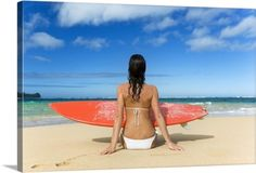 M Swiet Productions Premium Thick-Wrap Canvas Wall Art Print entitled Hawaii, Kauai, Woman Sitting On Beach With Surfboard, None