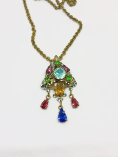 Antique Czech Crystal Rhinestone Enamel Art Deco Nouveau Signed Brass Filigree Multicolor Drop Pendant Necklace LGBT by AdornedInHistory on Etsy