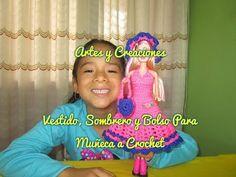 VESTIDO Y SOMBRERO MORADO/NARANJA PARA MUÑEQUITA A CROCHET. - YouTube